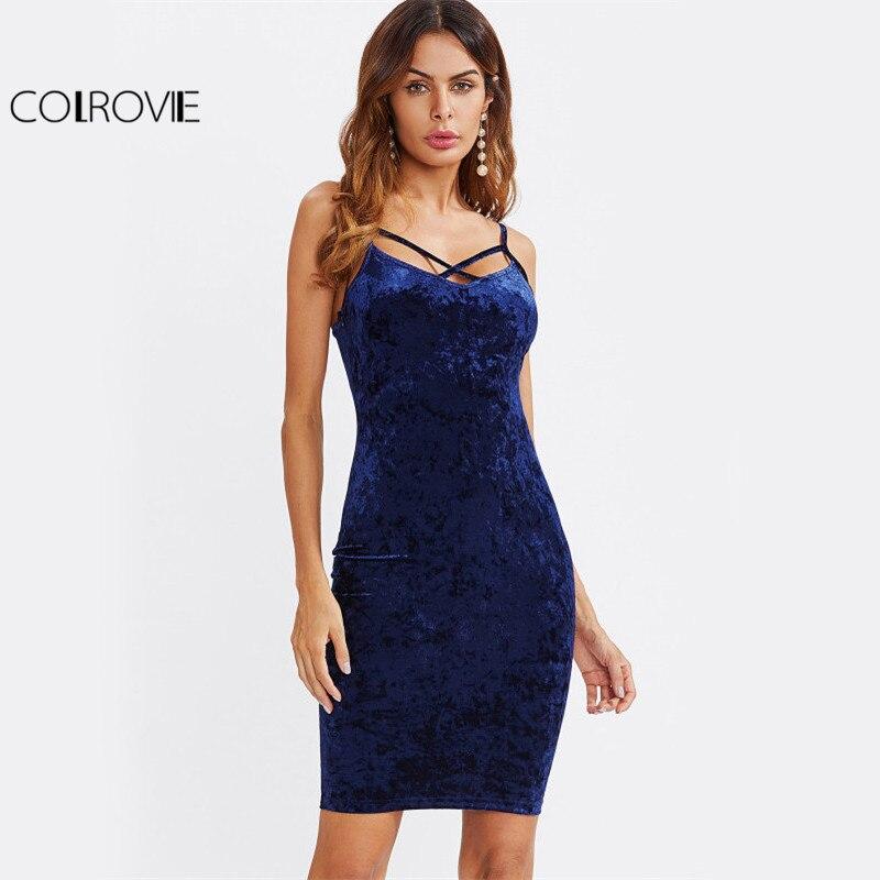 COLROVIE Strappy Kreuz Club Samt Kleid 2017 Frauen Royal Blue Fitting Bodycon Rutsch Sommer Kleider Reizvolle Dünne Elegante Midikleid