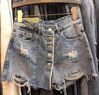 Summer Women Single Breasted Women Mini Denim Skirts Fashion Hole A Line Slim package hip Jeans Skirts