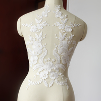 Black And Off White Cotton Thread Lace Flower Applique Lace Fabric High Grade Dress Accessories Diy