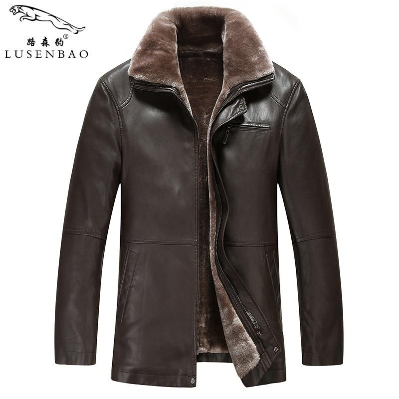 Winter Quality Leather Jacket Men Sheepskin Coats Cotton