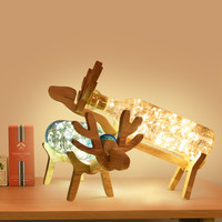 Nordic Decorate Christmas LED Lights Bedroom Bedside Creative Table Lamp Wood Personality Glass Deer Shape Night Light