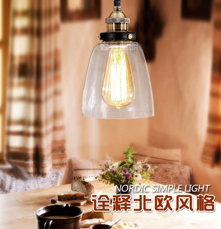 Nordic extreme simplicity retro Industrial creative restaurant bar hotel aisle bell-shaped glass pendant light lamp lighting the restaurant in front of the hotel cafe bar small aisle entrance hall creative pendant light mediterranean