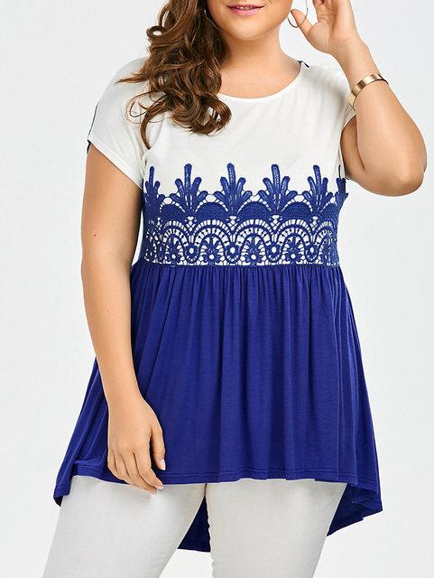 Plus Size XL-5XL Lace Insert Long Sleeve Tunic T-Shirt New Fashion Casual Women Top Tshirts Tees