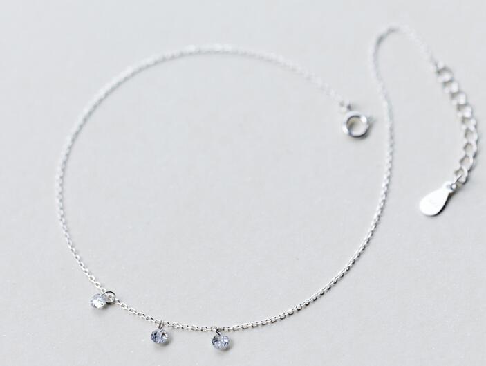 100% Real. 925 Sterling Silber Schmuck Drei Kristalle Fußkettchen Armband Gtls419 Wir Nehmen Kunden Als Unsere GöTter