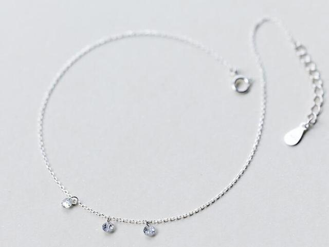100% Real. 925 Sterling Silver Jewelry Three Crystals Anklet Bracelet GTLS419
