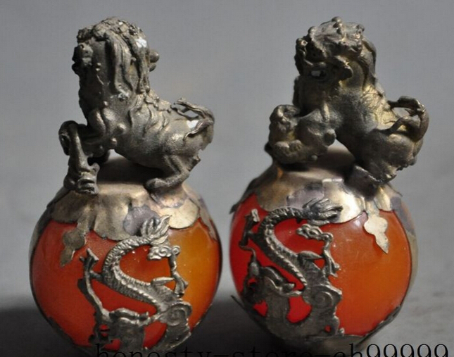 A Pair Medicine old chinese fengshui tibet silver Evil spirits foo fu dog lion statue pair Ball 2pcs Garden Decoration|decorative decorative|decorative garden statues|decor garden - title=