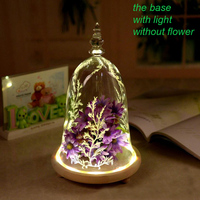Home Decor Flower Demo Glass Display Cloche Bell Jar Dome Flower Immortal Preservation Vase Wooden Base Ornament accessories