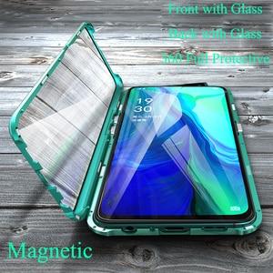 Image 1 - Luxus Magnetische Metall Stoßstange Fall Für OPPO Reno F11 V15 Pro R17 Abdeckung Doppelseitige Glas Voll Körper Fall für OPPO Reno 10X Zoom
