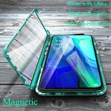 高級磁性金属バンパーケース Oppo リノ F11 V15 プロ R17 カバー両面ガラスフルボディケース oppo リノ 10X ズーム