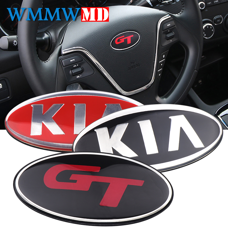 GT Logo 3D Sticker Car Front Rear Steering Badge Wheel Emblem For KIA RIO SPORTAGE CEED CERATO SORENTO SOUL K2/K3/K4/K5 Venga