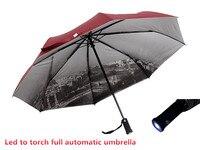 3 Color Sale LED Umbrella Rain Women Parasol UV Umbrella Men With Flashlight Eiffel Tower Sun