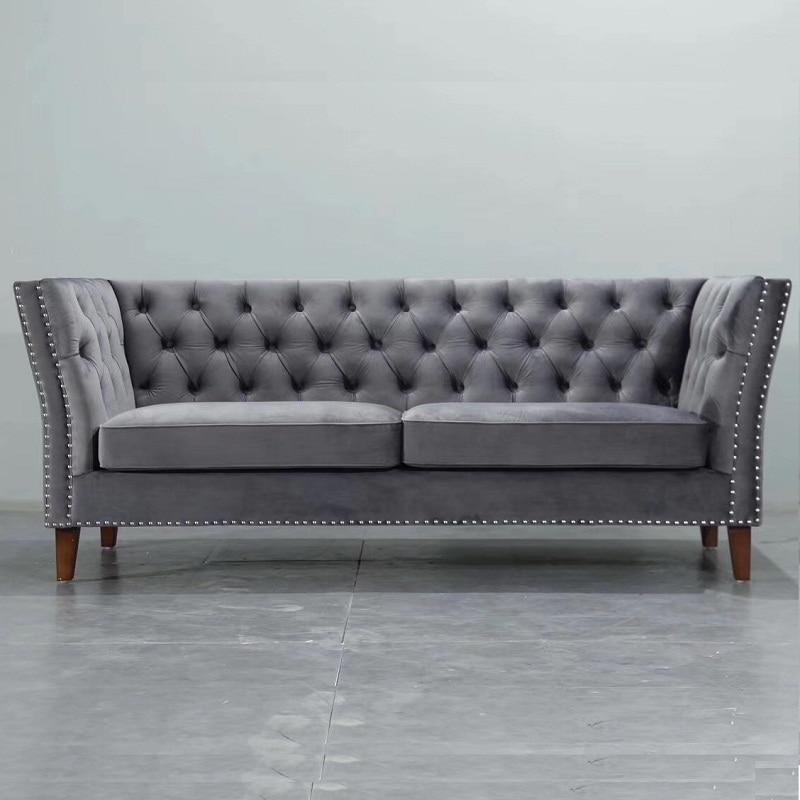 US $359.0 |U BEST High quality three seats leisure fabric sofas european  style interior sofa hotel 3 seats velvet Chesterfield sofa sets-in Living  ...