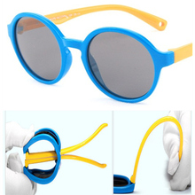 2019 new silicone polarized childrens sunglasses UV400 round boys and girls glasses brand design soft kids