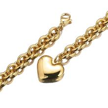 Granny Chic Brand Heart Necklace & Pendant For Women Gold Color Stainless Steel  Simple Design 8mm Oval Chain Jewelry Gift