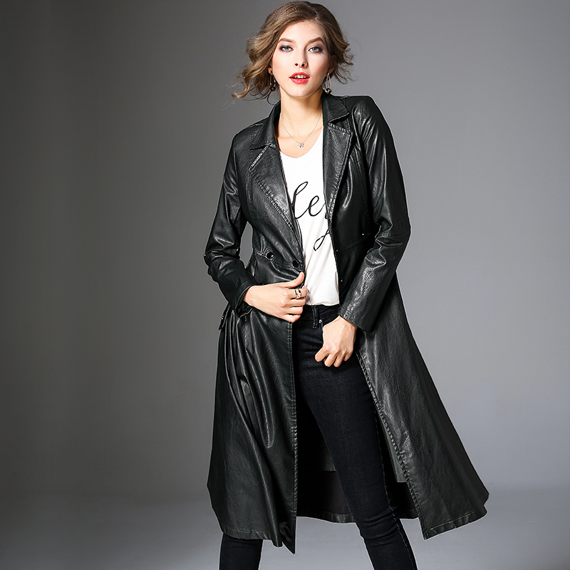 HANZANGL Faux   Leather   Jackets Women 2019 Spring Autumn Fashion Slim Female Pu   Leather   Windbreaker Belted Long   Leather   Outerwear
