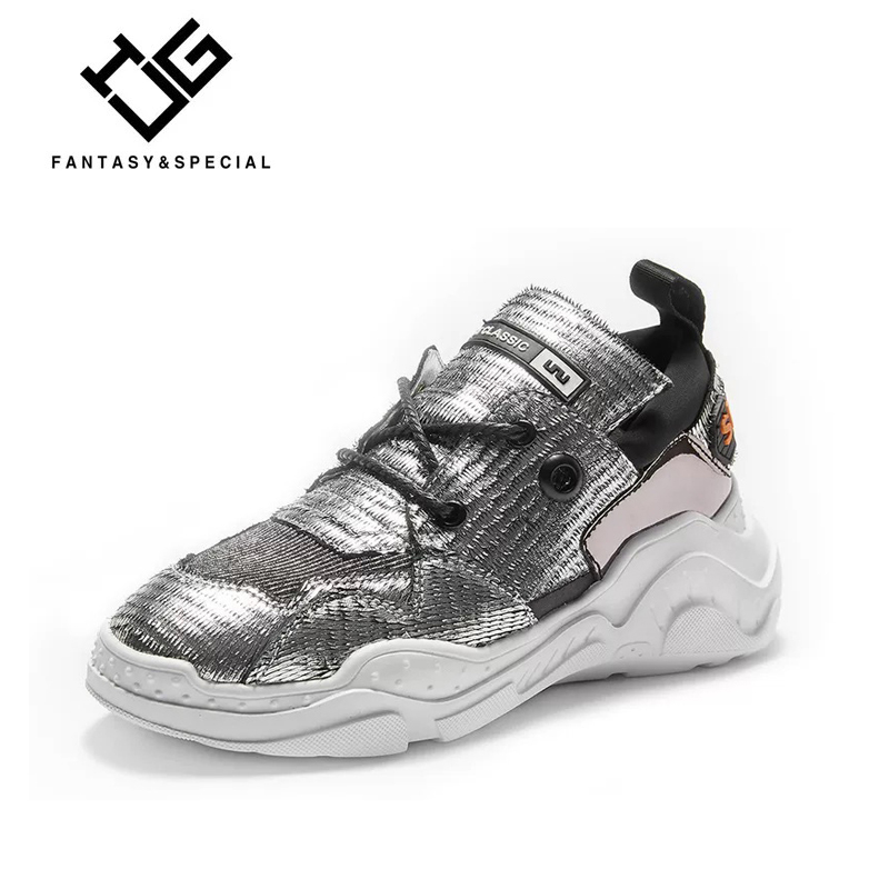 Véritable Zapatos En De Semelles High Réel Épais Plate Feminino Chaussures Mujer Fond Décontracté Argent À Ugi Compensées Sneakers forme Tenis Femmes Cuir Street nHHRI