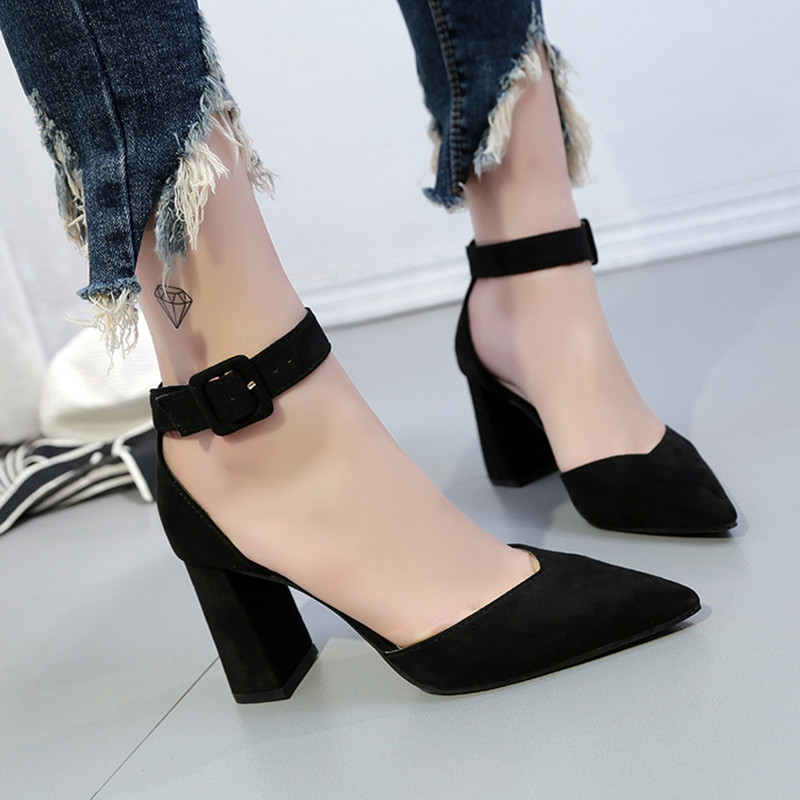Shoes Woman 2018 New Sexy High Heels Thick With Pointed Suede Shallow Mouth  Women Shoes Normal Size 34 39 Zapatos Mujer-in Women's Pumps from Shoes on  ...