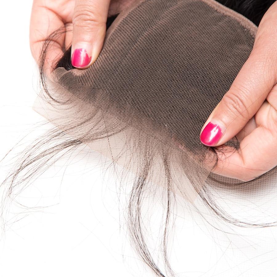 ALIPOP բրազիլական ուղիղ ժանյակային - Մարդու մազերը (սև) - Լուսանկար 5
