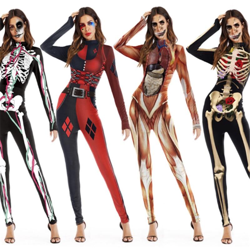 Halloween Sexy ghost bride Costume Skeleton Printing Stretch Jumpsuit Zombie Zentai Scary Skeleton Skull Joker Cosplay Bodysuit