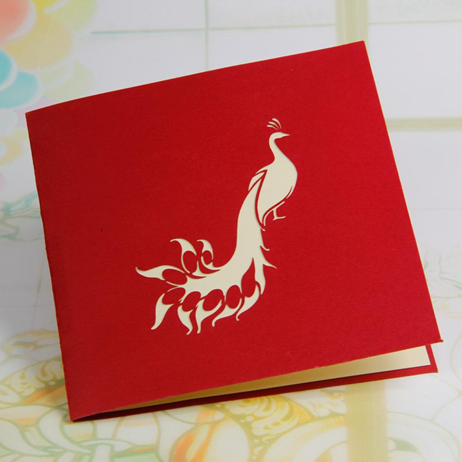 Amazing Cool 3D Pop Up Cards Custom Greeting Peacock In Red For Birthday Personalised 10pcs Free Shipping On Aliexpress