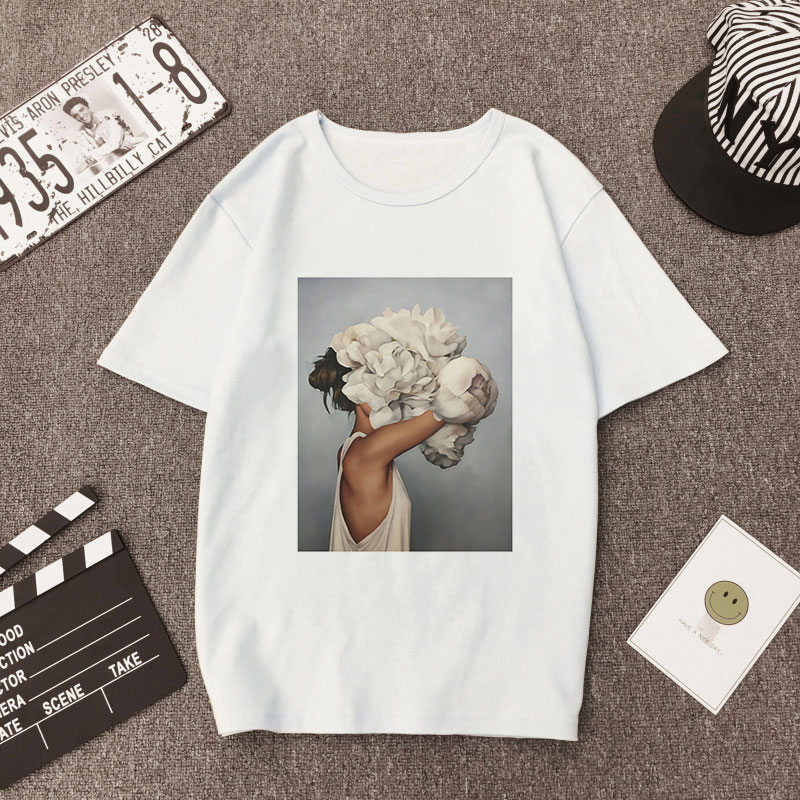 9fd24e49aba3 Plus Size Women Summer Vogue Print Casual T-shirt Tops Lady Flowers Feather  Short Sleeve