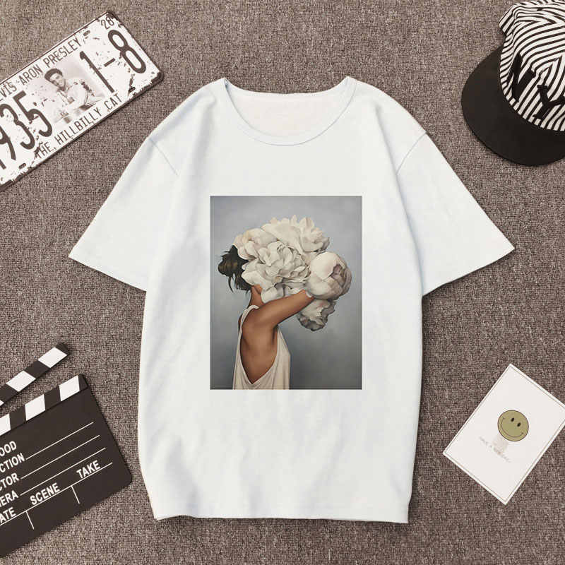 Plus Size Women Summer Vogue Print Casual T-shirt Tops Lady Flowers Feather Short Sleeve O-neck Loose Tops Tees Camisetas Mujer