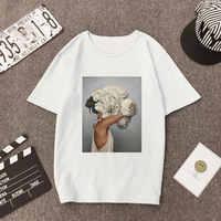 Mujer talla grande verano Vogue estampado Casual camiseta Tops señora flores pluma manga corta cuello redondo suelta Camisetas Mujer