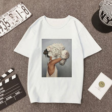 Plus Size Women Summer Vogue Print Casual T-shirt Tops Lady Flowers Feather Shor