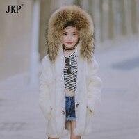 JKP 2018 children's real rabbit fur autumn clothing fashion coat girls kids jacket with big raccoon fur collar children cute