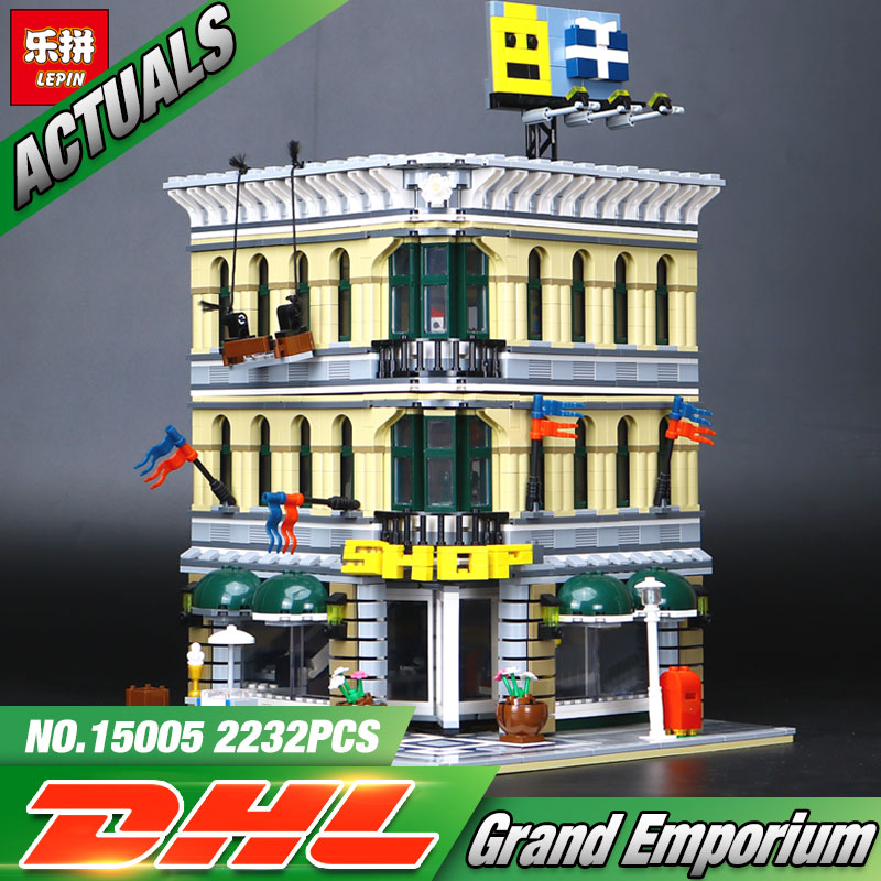 2017 LEPIN 15005 NEW 2232Pcs City Grand Emporium Model Building Blocks Kits Brick Toy Compatible 10211 a toy a dream lepin 15008 2462pcs city street creator green grocer model building kits blocks bricks compatible 10185