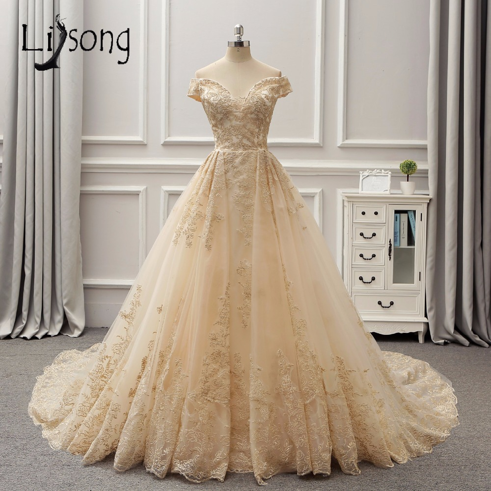 Gold Gowns Wedding: Arabia Dubai 3D Lace Light Gold Color Wedding Dresses