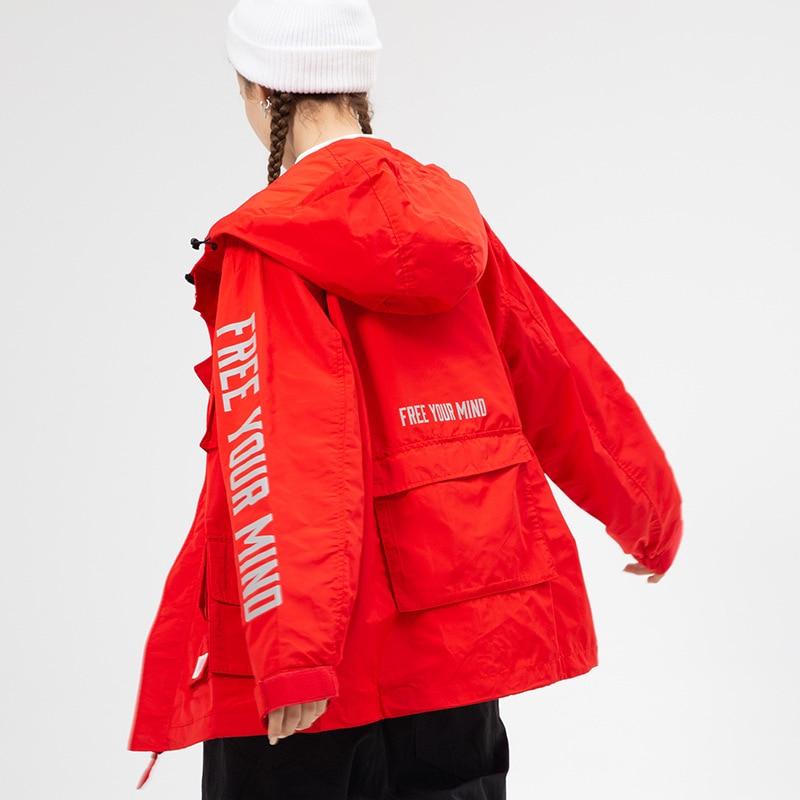 red lake Blue À Cool Personnalité Et Femmes 2019 Automne Hip Veste Rue Aishgwbsj De Beau Capuchon Hop Printemps Manteau Outillage Nouvelles Black Tq561 Mode a1gqAnF