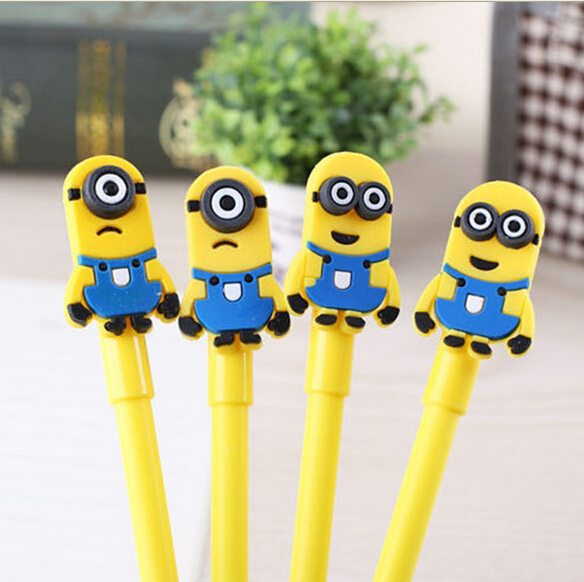 High quality kawaii minions gel pen Despicable Me cute school supplies New Fashion Office and School Pen for Kids Children gift 2016 new fashion novelty despicable me kids cartoon backpacks children minion school bag boy girl mochilas