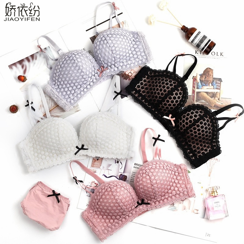 JYF Summer Fashion Sexy Lace Women Seamless Underwear Padded Push Up   Bra     Set   Embroidery Lace Young Girl Intimates   Sets