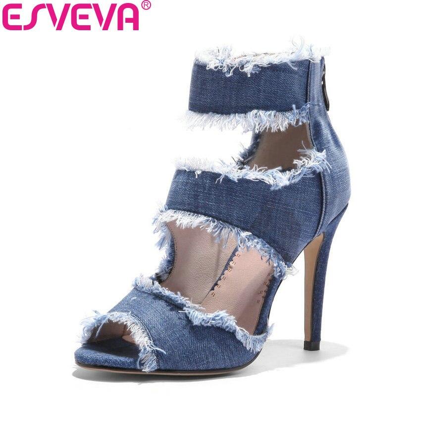 ESVEVA 2018 Women Pumps Denim Shoes High Heels Western Style Blue Zipper Thin High Heels Peep Toe Women Pumps Shoes Size 34-43 цена