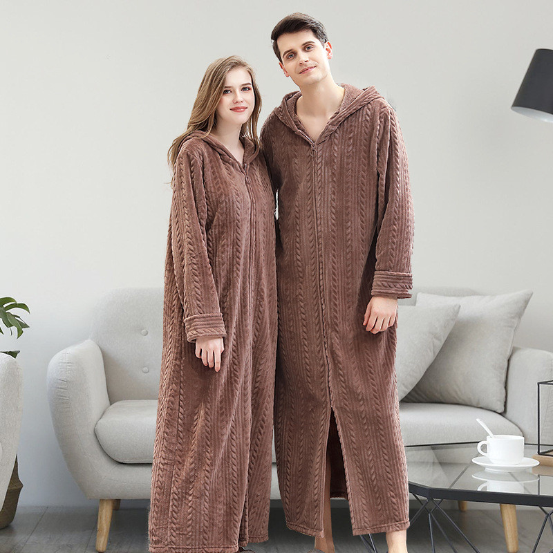 JULY'S SONG  Couple Pajamas  Flannel Warm Bathrobe Autumn Winter Thick Sleepwear Robe  Women Man Pajamas Robe With Hat