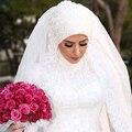 2015 caliente venta del cordón de la catedral de velo de novia el nuevo velo de la novia de Hui vestido de boda musulmán de gama alta personalizada diseño