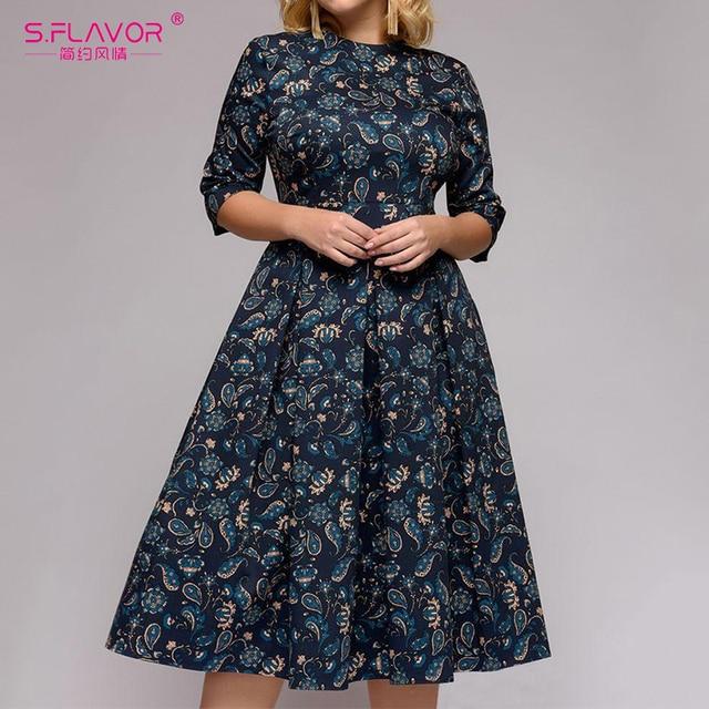 S. SMAAK Plus Size Vrouwen EEN lijn Bloemen Printing Jurk Drie Kwart Mouw Vintage Jurk Lente Zomer Party Vestidos Elegante