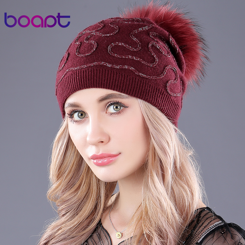 [boapt] wool knitting folds hats genuine natural raccoon fur fluffy pompon warm thick women winter female caps   skullies     beanies