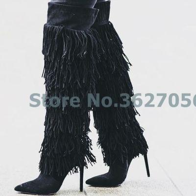 Fringe Noir Bout Mince Genou Bohème Casual Picture Long Femmes Bottes Pointu Picture Style as As Haute Brun Talon n0wkPO