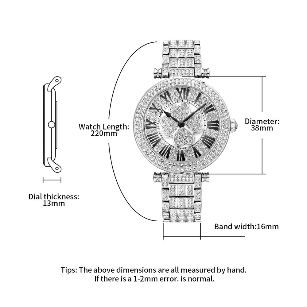 ×Closeout DealsWatch Women Bracelet Silver Clover Luxury Quartz Crystal Feminino Waterproof Relogio