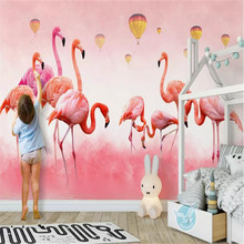 Hand painted flamingo feather background wall custom large indoor covering wallpaper mural photo