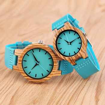 Reloj de madera pulso de cuero azul - Hombre/Mujer 1