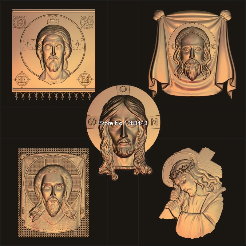 5pcs Jesus_Christ's Head 3d Model STL Relief For Cnc STL Format  Jesus 3d Relief Model STL Router 3 Axis Engraver ArtCam
