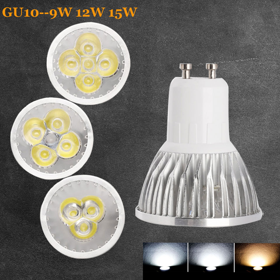 Super Bright GU10 LED Bulb Spot Light 9W 12W 15W 110V 220V Led Spotlights Warm Natural Cool White gu 10 LED lamp For Home Decor super bright gu10 bulbs light dimmable led warm white 85 265v 7w 10w 15w led gu10 cob led lamp light gu 10 led spotlight
