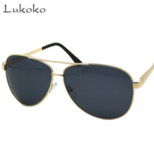 Lukoko Aviator Gold Frame Male Brand Men Sunglasses Polarized Cool Pilot Polar 400 Sunglases Fishing Driving Glasses Polarized