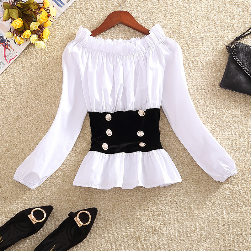 2019 Fashion Sweet Blouse Women Short Shirt Crop Top Slash Neck Off-shoulder Patchwork Elastic Waist Ruffles Top Lantern Sleeve Japan T95291 Good For Antipyretic And Throat Soother