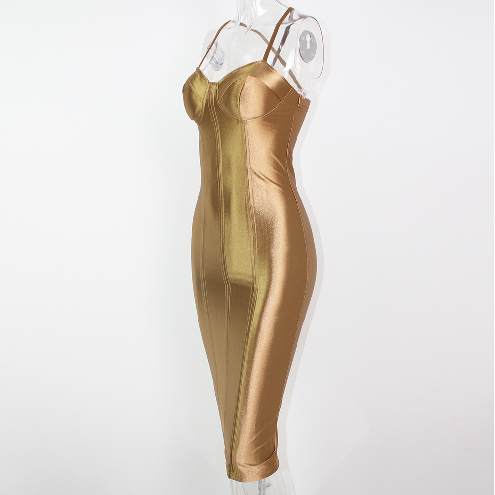Sexy Party Midi Dress Bodycon Satin Shiny Party V Neck Sleeveless Split Back Cross Straps Gold Red Knee length Dresses Black 19