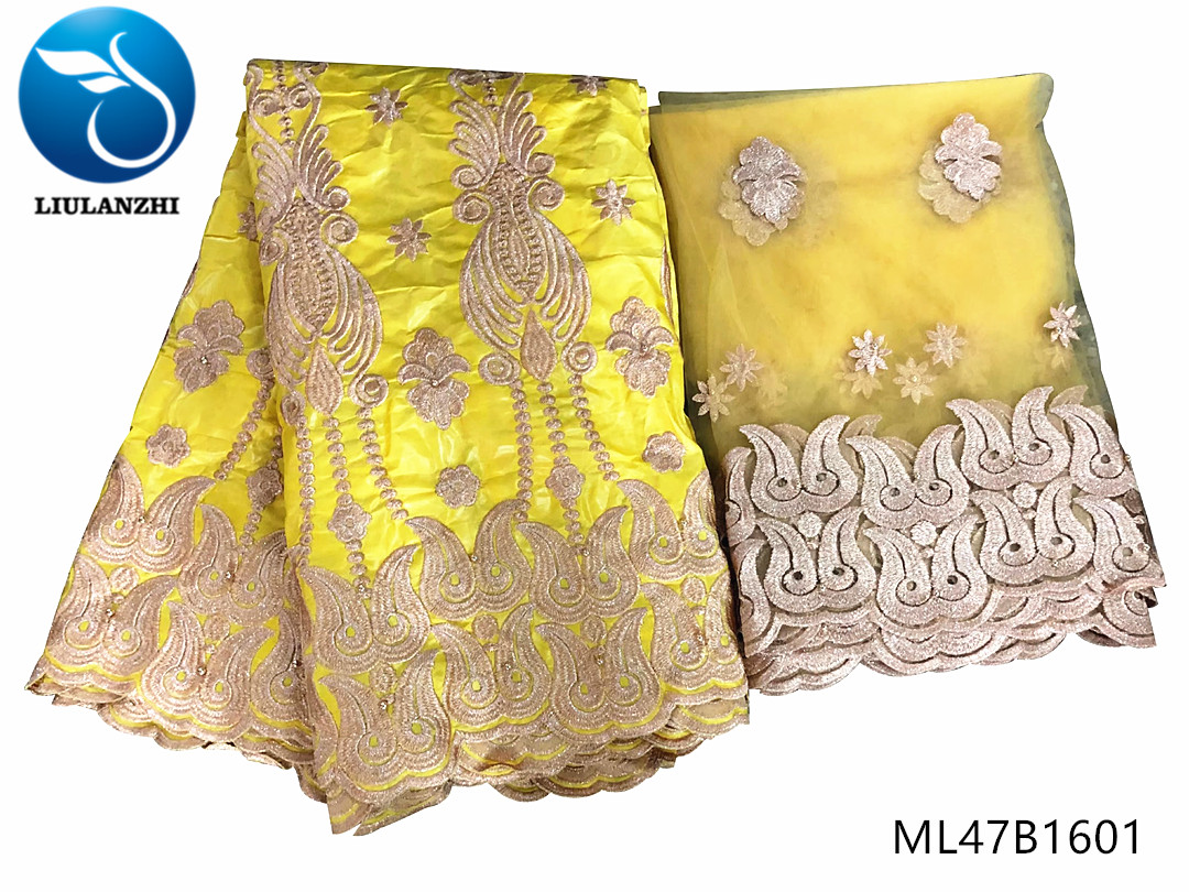 LIULANZHI african lace fabrics Gold bazin riche beads fabric Top sale embroidery getzner brocade fabric for dress 7yards ML47B16
