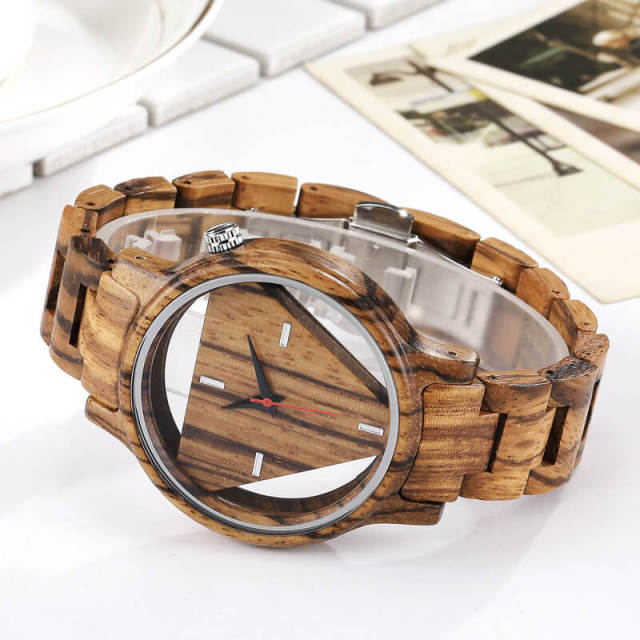 Mens Wooden Watches Hand-Made Engraved Inverted Triangle Wood Watch Men Women Creative Quartz Watch Gifts relogio masculino 3